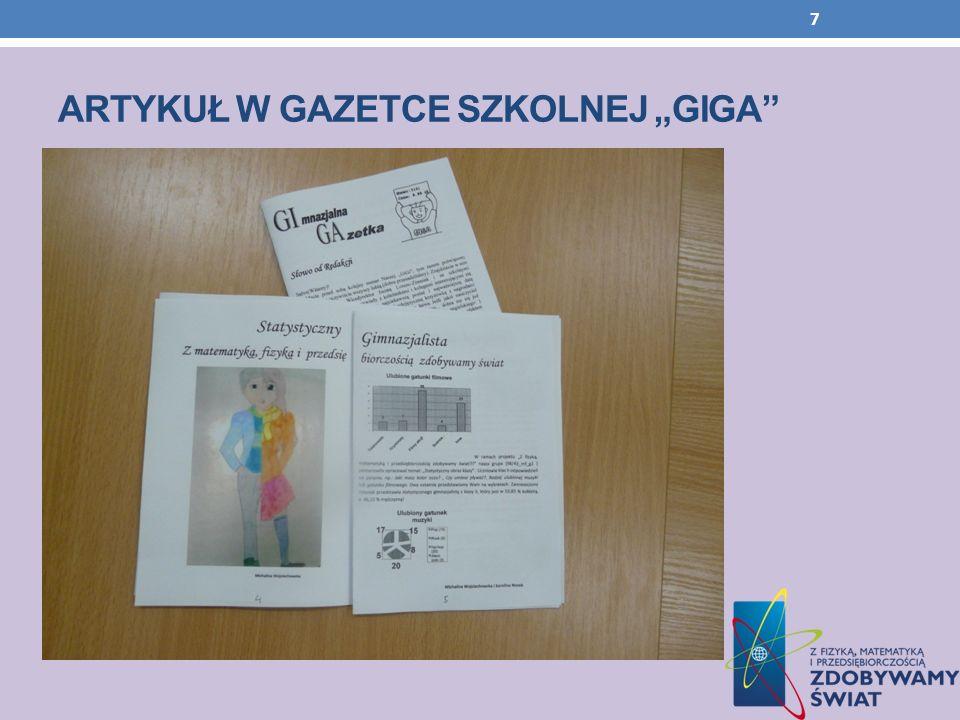 """Artykuł w gazetce szkolnej """"GIGA"""