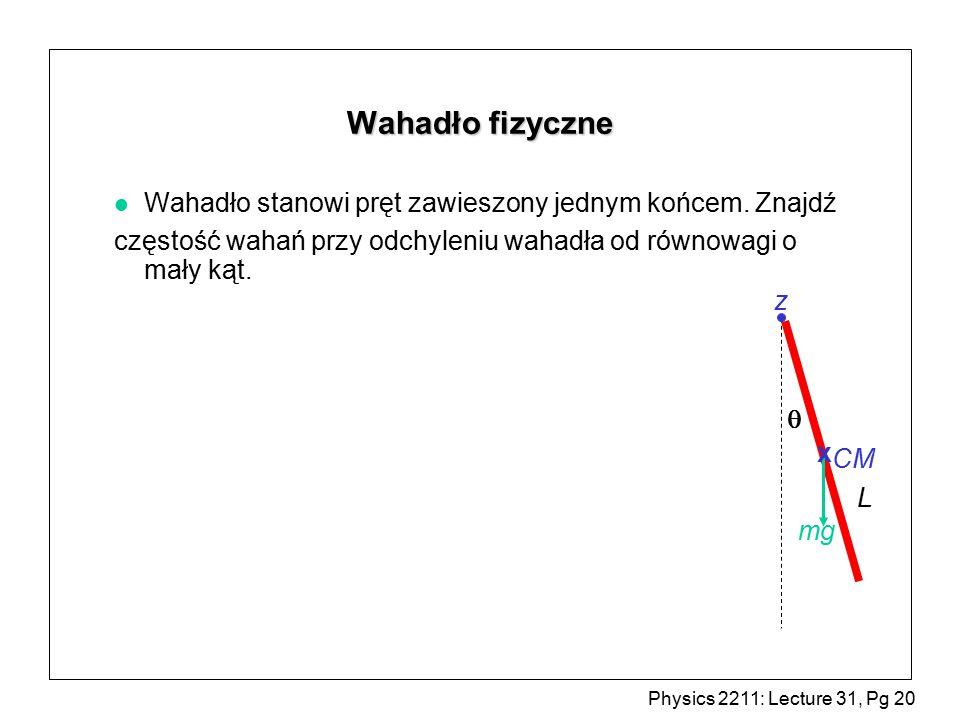 Wahadło fizyczne Wahadło stanowi pręt zawieszony jednym końcem. Znajdź