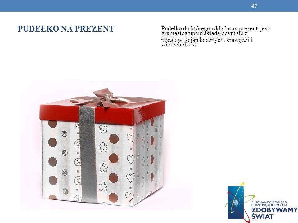 PUDEŁKO NA PREZENT Pudełko do którego wkładamy prezent, jest graniastosłupem składającym się z.