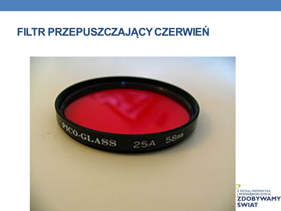 Filtr przepuszczający czerwień