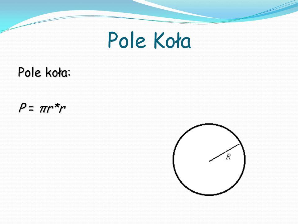 Pole Koła Pole koła: P = πr*r