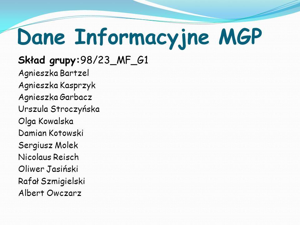Dane Informacyjne MGP Skład grupy:98/23_MF_G1 Agnieszka Bartzel