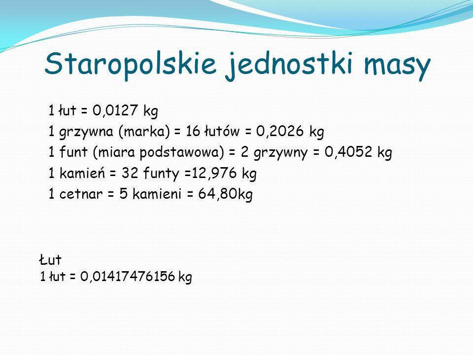 Staropolskie jednostki masy