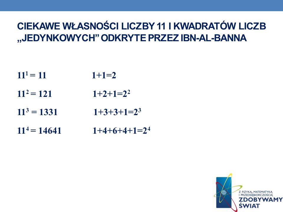 """Ciekawe własności liczby 11 i kwadratów liczb """"jedynkowych'' odkryte przez Ibn-al-Banna"""