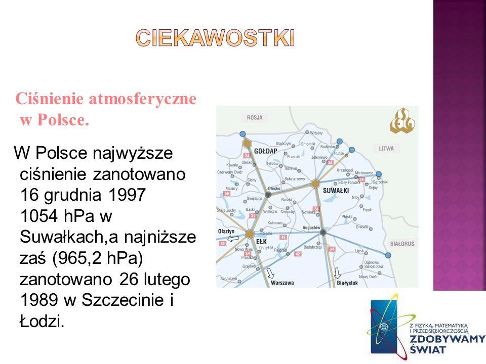 CIEKAWOSTKI Ciśnienie atmosferyczne w Polsce.