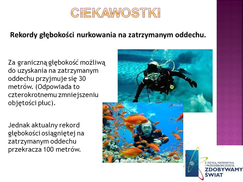 CIEKAWOSTKI Rekordy głębokości nurkowania na zatrzymanym oddechu.