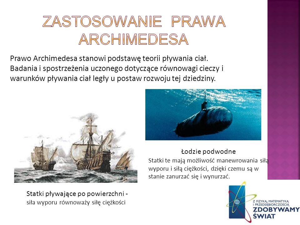 Zastosowanie prawa archimedesa