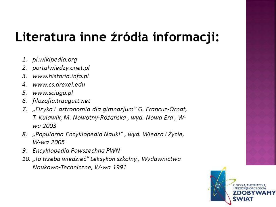 Literatura inne źródła informacji: