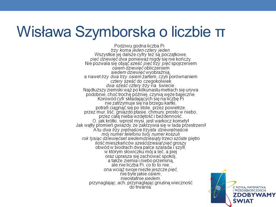 Wisława Szymborska o liczbie π
