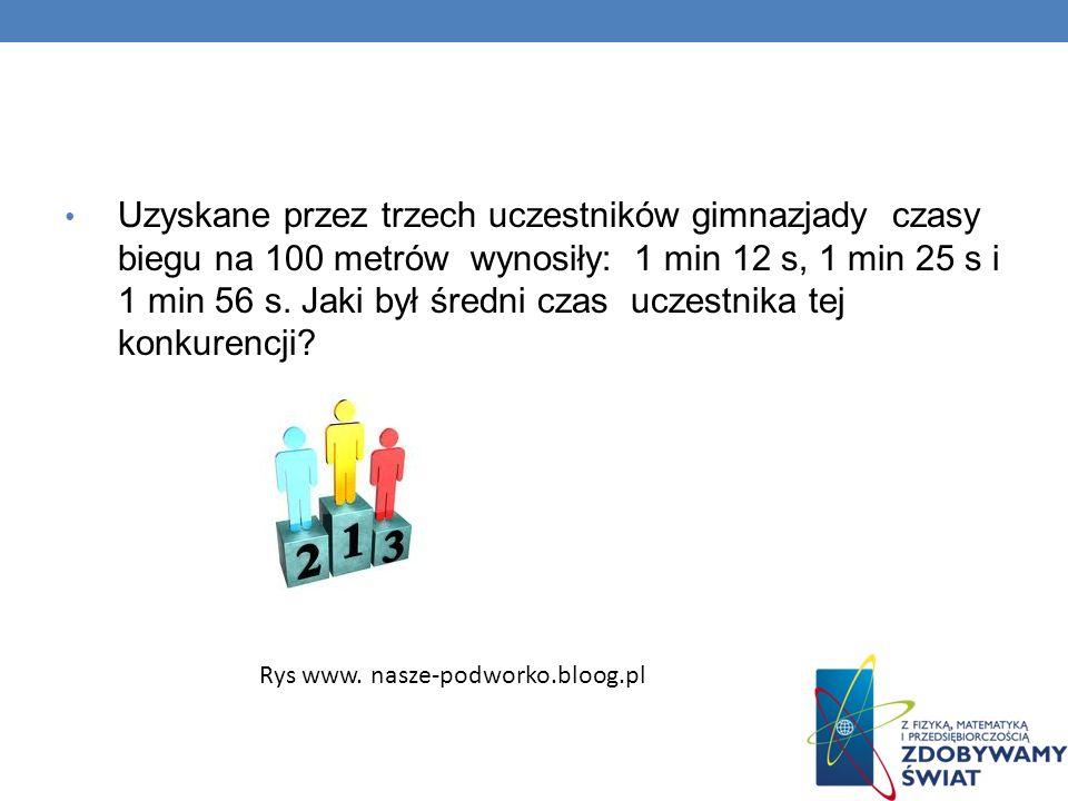 Uzyskane przez trzech uczestników gimnazjady czasy biegu na 100 metrów wynosiły: 1 min 12 s, 1 min 25 s i 1 min 56 s. Jaki był średni czas uczestnika tej konkurencji