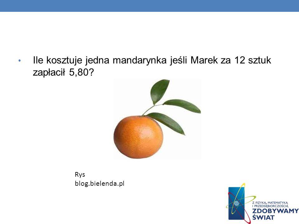 Ile kosztuje jedna mandarynka jeśli Marek za 12 sztuk zapłacił 5,80