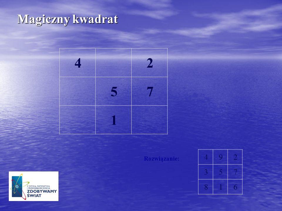 Magiczny kwadrat 4 2 5 7 1 4 9 2 3 5 7 8 1 6 Rozwiązanie: