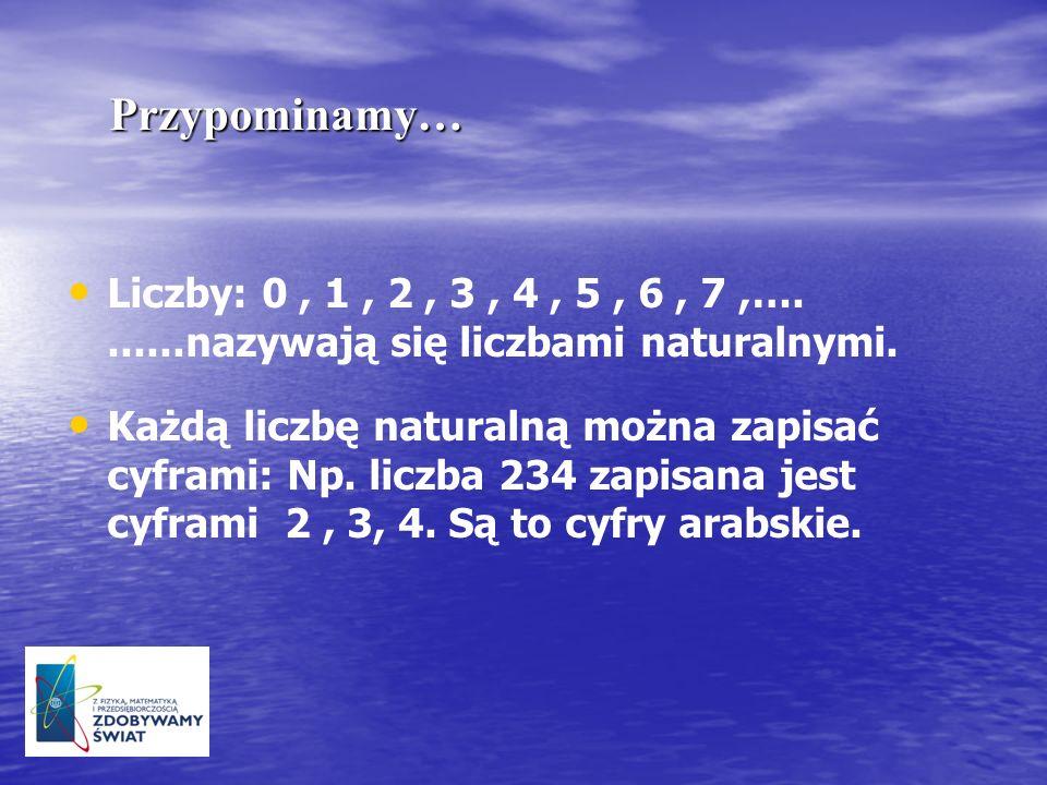 Przypominamy…Liczby: 0 , 1 , 2 , 3 , 4 , 5 , 6 , 7 ,…. ......nazywają się liczbami naturalnymi.