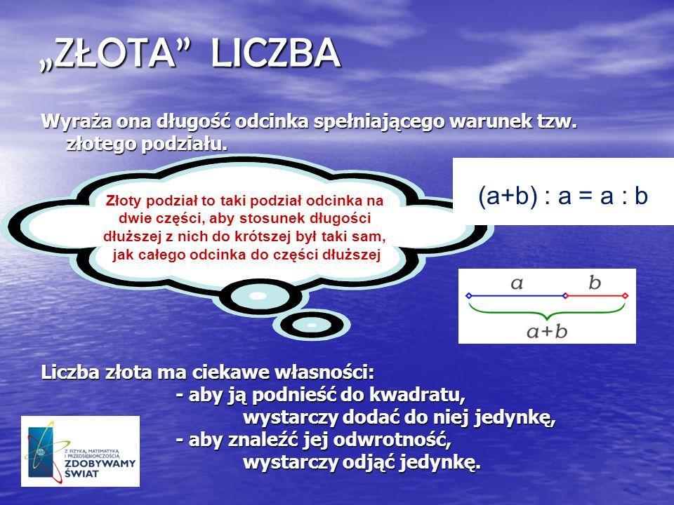 """ZŁOTA LICZBA (a+b) : a = a : b"