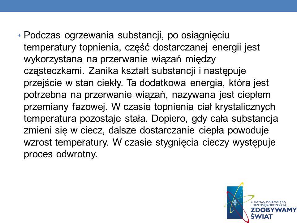 Podczas ogrzewania substancji, po osiągnięciu temperatury topnienia, część dostarczanej energii jest wykorzystana na przerwanie wiązań między cząsteczkami.