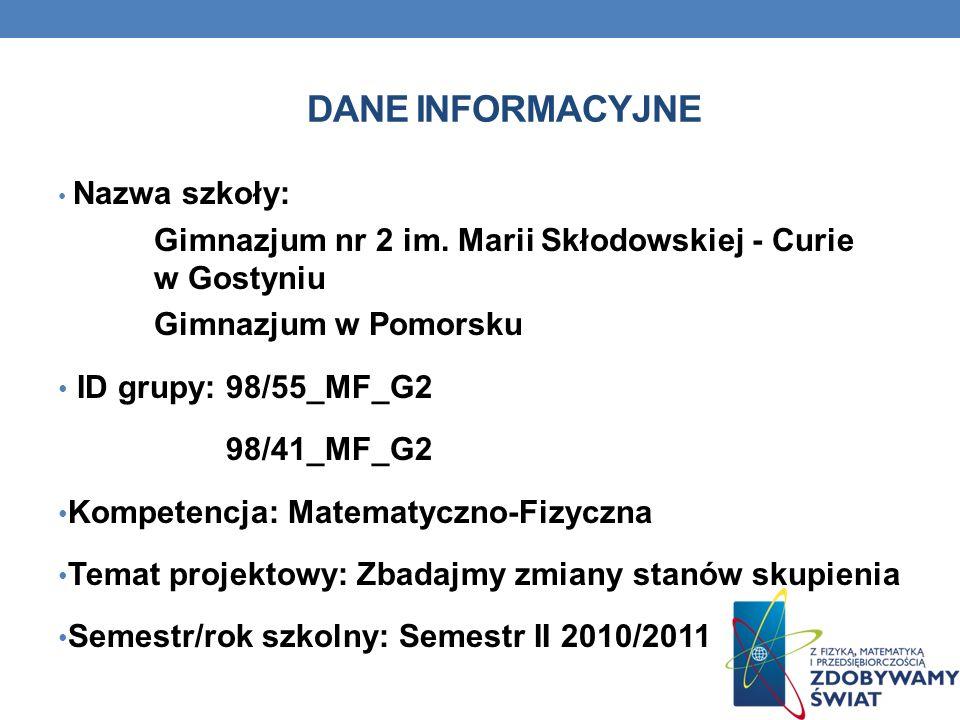DANE INFORMACYJNE Nazwa szkoły: Gimnazjum nr 2 im. Marii Skłodowskiej - Curie w Gostyniu. Gimnazjum w Pomorsku.