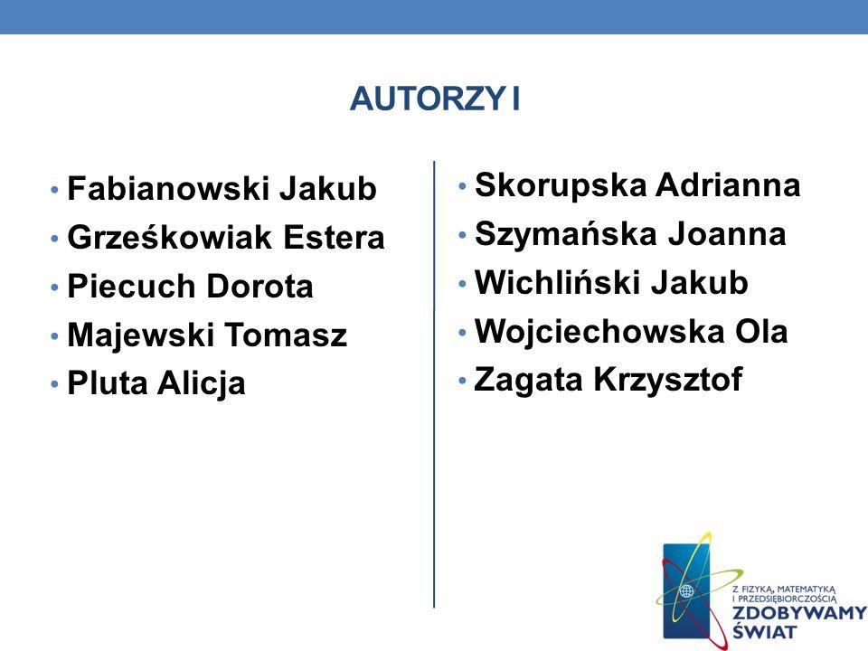 AUTORZY I Fabianowski Jakub. Grześkowiak Estera. Piecuch Dorota. Majewski Tomasz. Pluta Alicja.