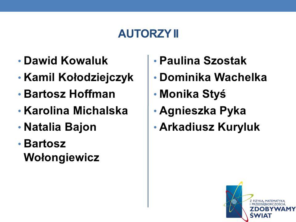 AUTORZY II Dawid Kowaluk. Kamil Kołodziejczyk. Bartosz Hoffman. Karolina Michalska. Natalia Bajon.