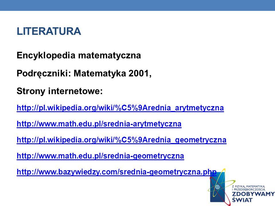 literatura Encyklopedia matematyczna Podręczniki: Matematyka 2001,