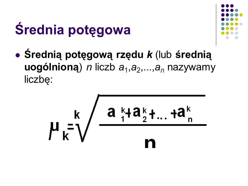 Średnia potęgowa Średnią potęgową rzędu k (lub średnią uogólnioną) n liczb a1,a2,...,an nazywamy liczbę: