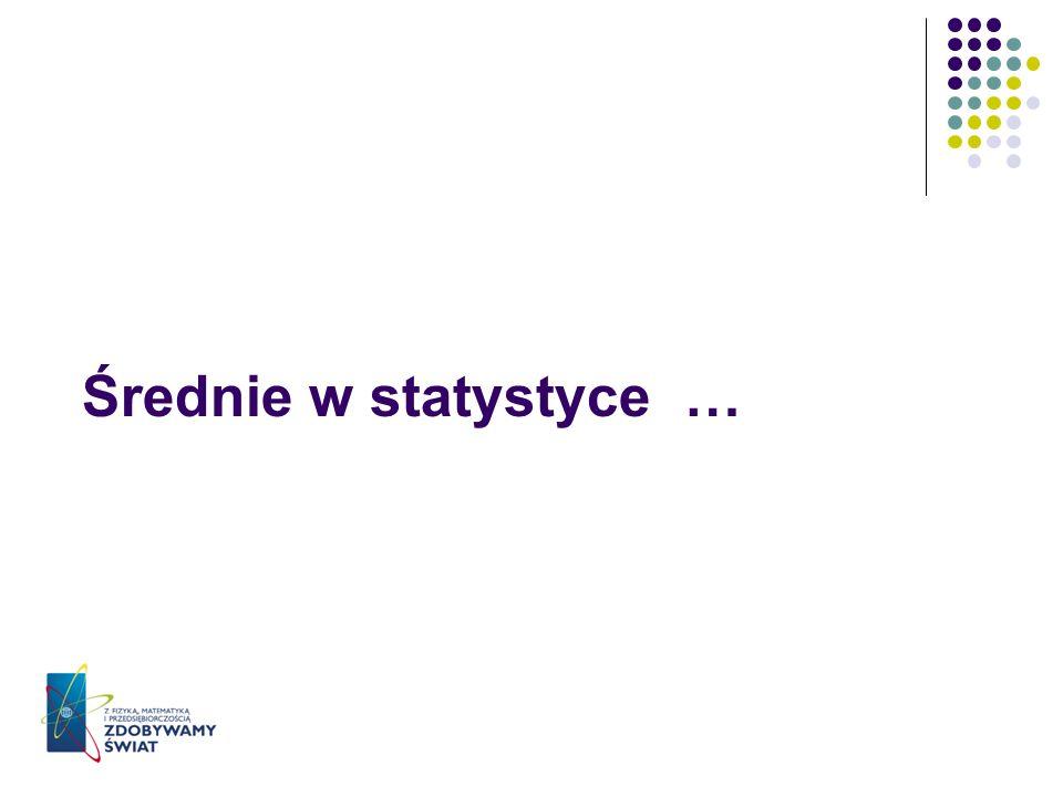 Średnie w statystyce …