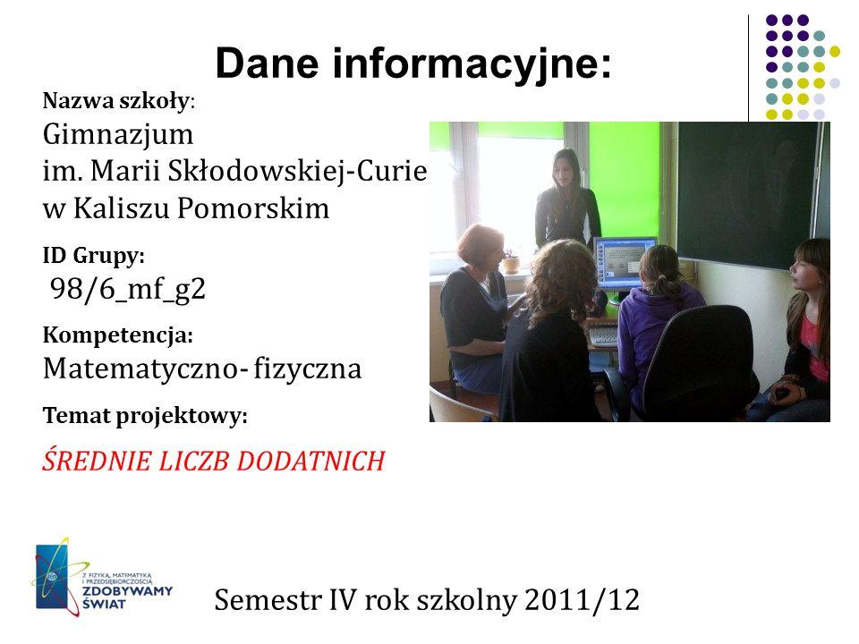 Dane informacyjne: Gimnazjum im. Marii Skłodowskiej-Curie