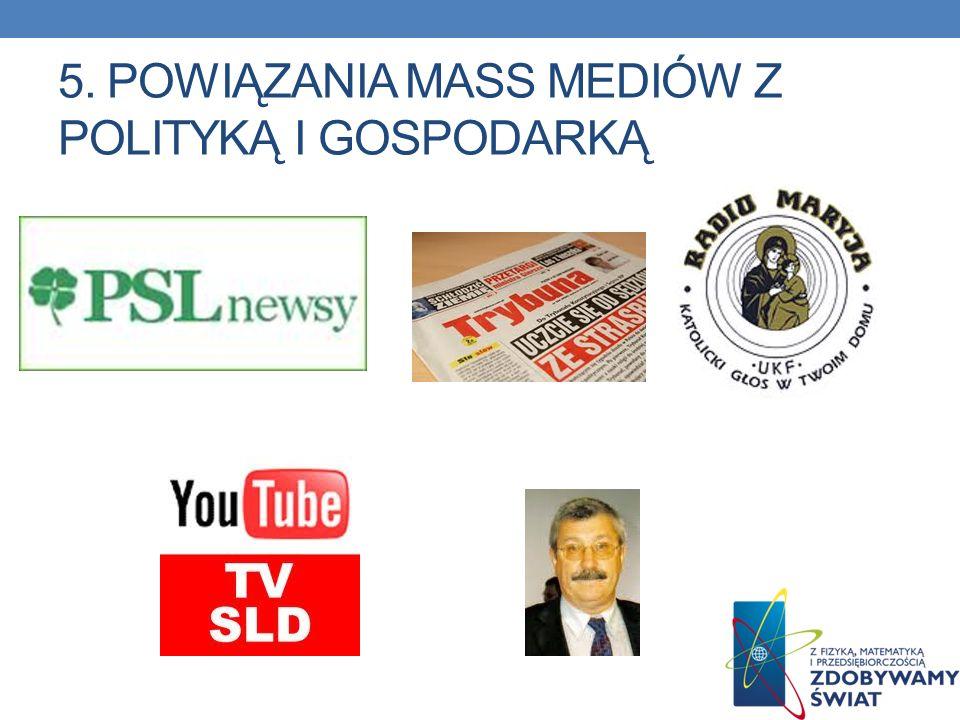 5. POWIĄZANIA MASS MEDIÓW Z POLITYKĄ I GOSPODARKĄ