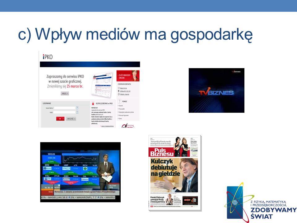 c) Wpływ mediów ma gospodarkę