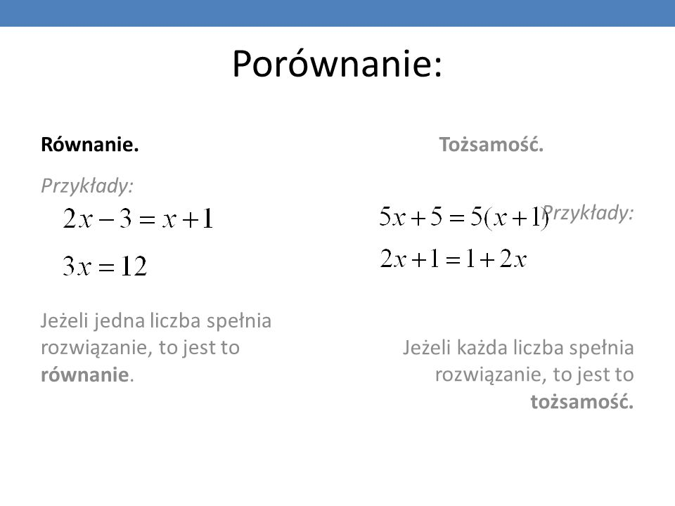 Porównanie: Równanie. Tożsamość. Przykłady: