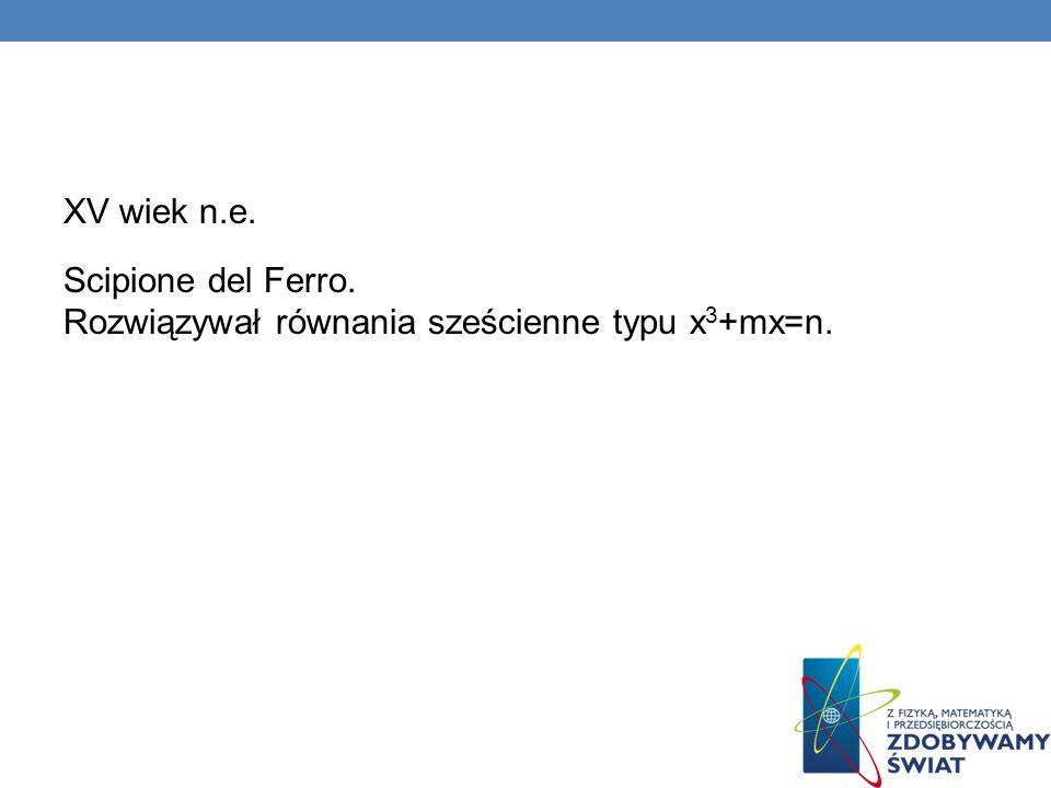 XV wiek n.e. Scipione del Ferro. Rozwiązywał równania sześcienne typu x3+mx=n.