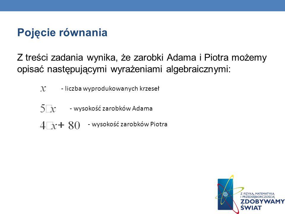 Pojęcie równania Z treści zadania wynika, że zarobki Adama i Piotra możemy opisać następującymi wyrażeniami algebraicznymi: