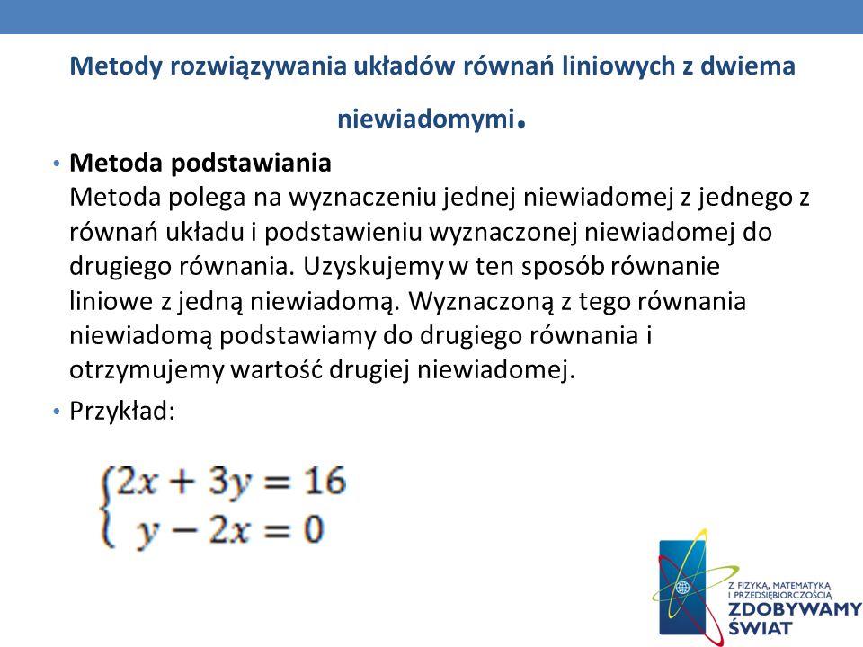 Metody rozwiązywania układów równań liniowych z dwiema niewiadomymi.