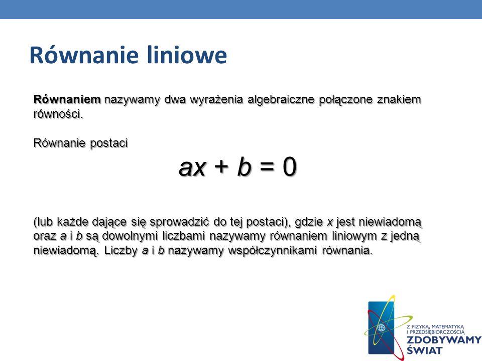 Równanie liniowe ax + b = 0