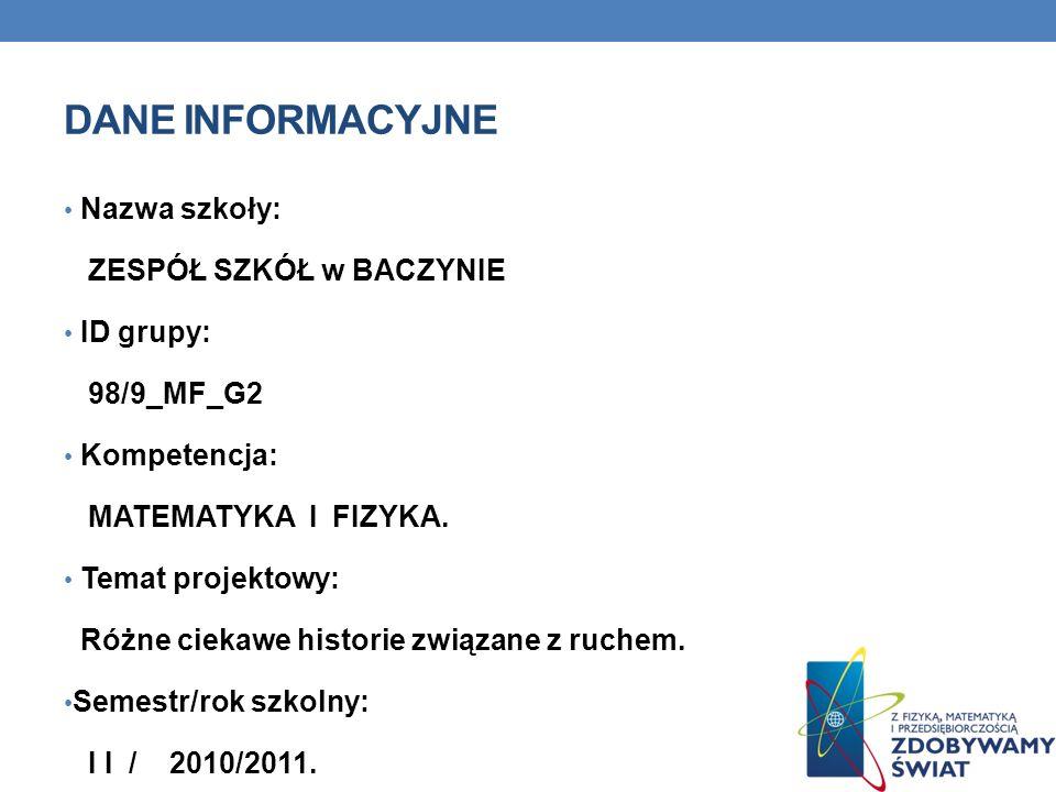 Dane INFORMACYJNE Nazwa szkoły: ZESPÓŁ SZKÓŁ w BACZYNIE ID grupy: