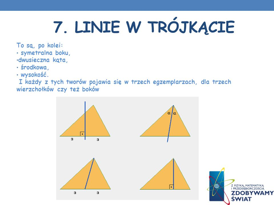 7. Linie w trójkącie To są, po kolei: symetralna boku,