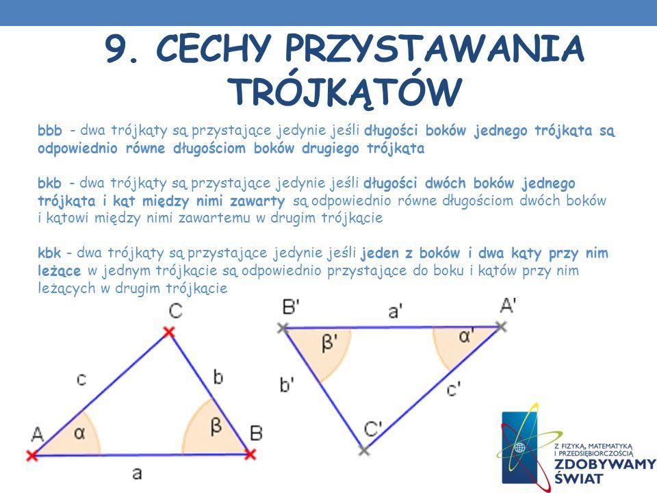 9. Cechy przystawania trójkątów