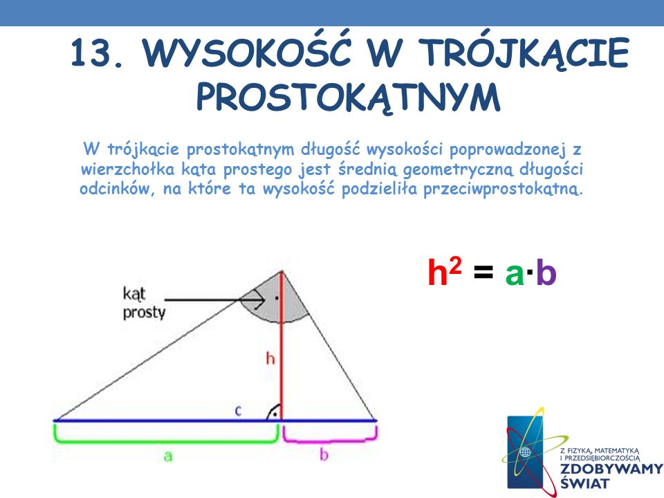 13. Wysokość w trójkącie prostokątnym