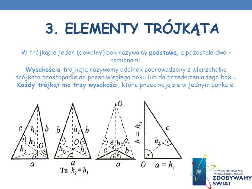 3. Elementy trójkąta W trójkącie jeden (dowolny) bok nazywamy podstawą, a pozostałe dwa – ramionami.