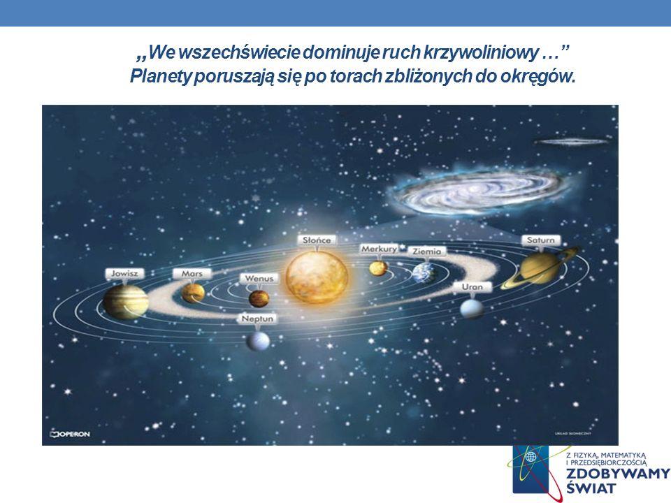 """""""We wszechświecie dominuje ruch krzywoliniowy … Planety poruszają się po torach zbliżonych do okręgów."""
