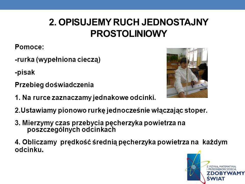 2. OPISUJEMY RUCH JEDNOSTAJNY PROSTOLINIOWY