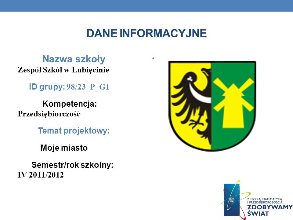 Dane informacyjne Nazwa szkoły Zespół Szkół w Lubięcinie