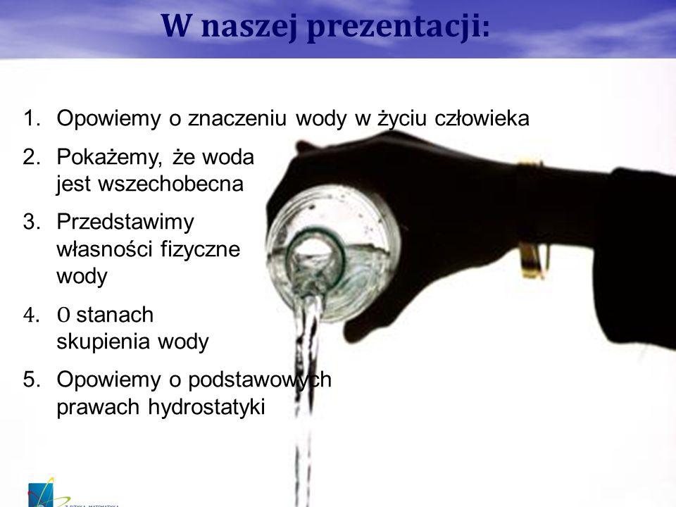 W naszej prezentacji: Opowiemy o znaczeniu wody w życiu człowieka