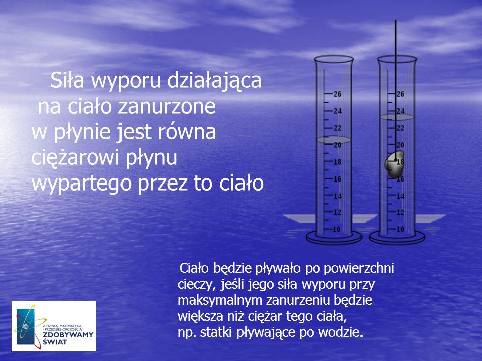 Siła wyporu działająca na ciało zanurzone w płynie jest równa ciężarowi płynu wypartego przez to ciało