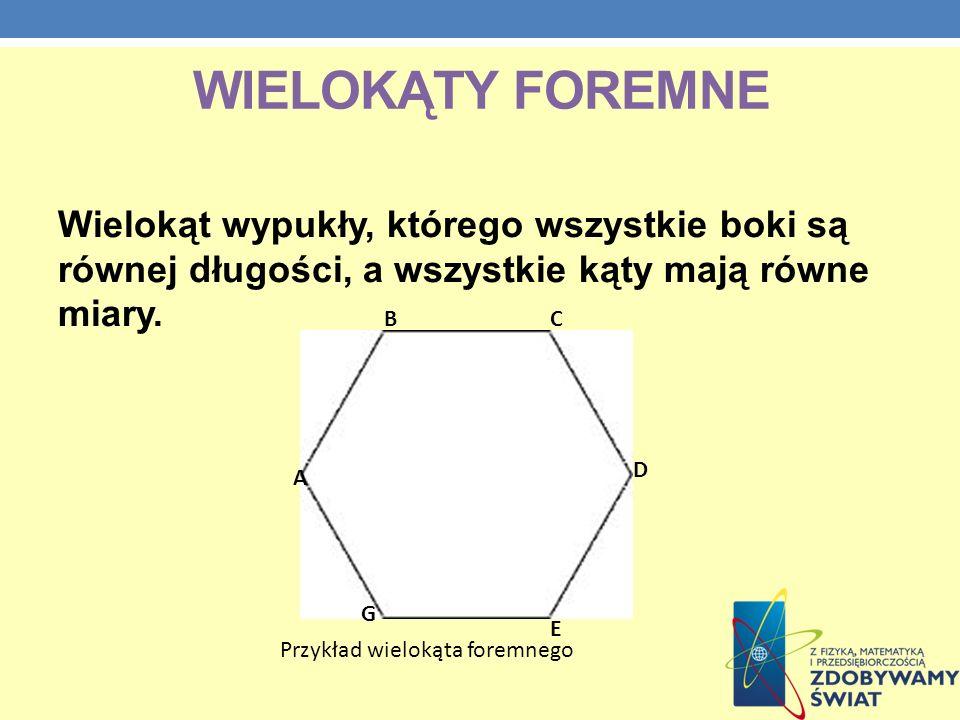 Wielokąty foremne Wielokąt wypukły, którego wszystkie boki są równej długości, a wszystkie kąty mają równe miary.