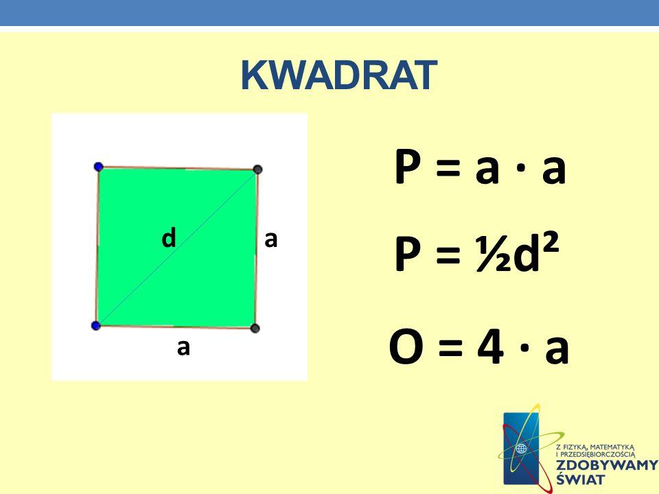 kwadrat P = a · a d a P = ½d² O = 4 · a a