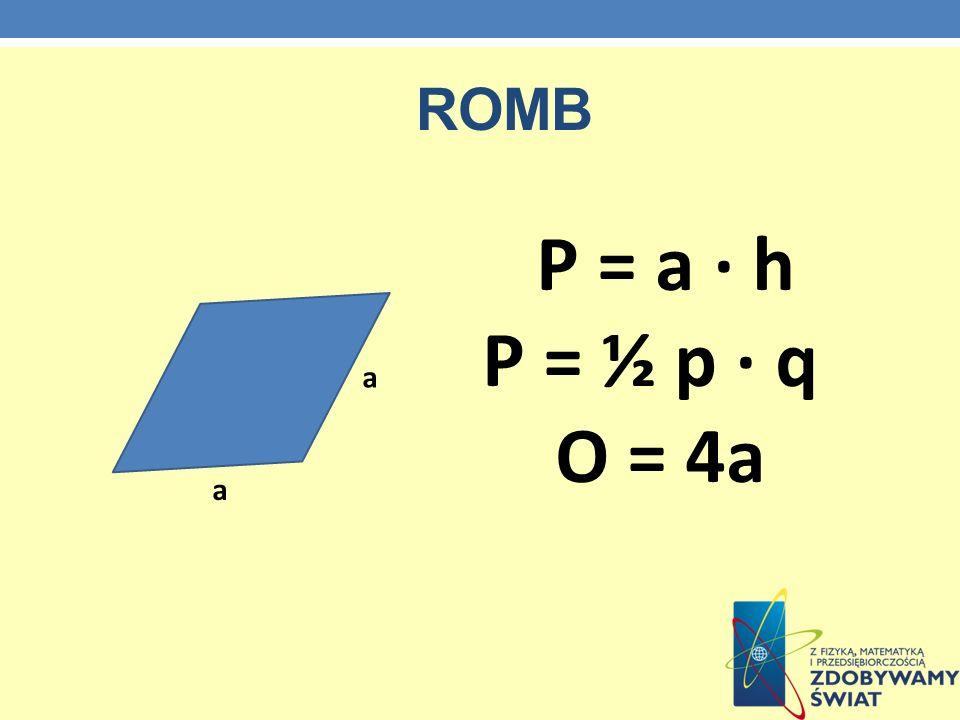 romb P = a · h P = ½ p · q O = 4a a a