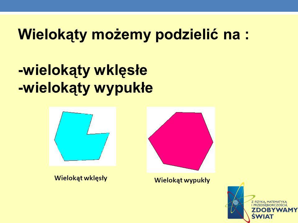Wielokąty możemy podzielić na : -wielokąty wklęsłe -wielokąty wypukłe