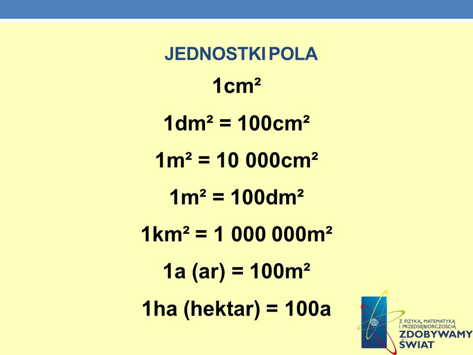 1cm² 1dm² = 100cm² 1m² = 10 000cm² 1m² = 100dm² 1km² = 1 000 000m²