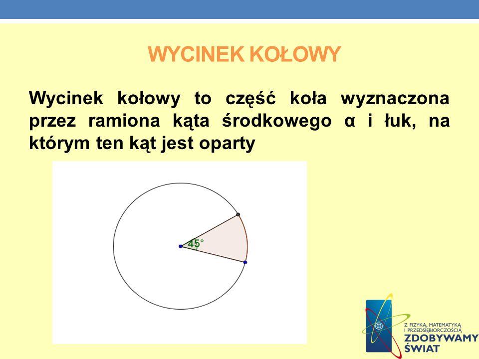 Wycinek kołowy Wycinek kołowy to część koła wyznaczona przez ramiona kąta środkowego α i łuk, na którym ten kąt jest oparty.