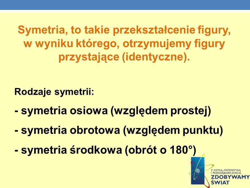 - symetria osiowa (względem prostej)